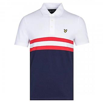 Lyle & Scott Yoke Stripe Polo Shirt White Navy SP1217V