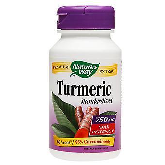 Curcuma de façon de la nature normalisée, 750 mg, capsules végétariennes, ea 60