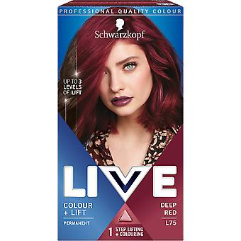Schwarzkopf LIVE Colour + Lift L75 Deep Red Permanent Hair Dye x 3