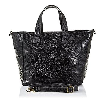 FIRENZE ARTEGIANI. Women's bag in real leather. BORSA TOTE a real leather shoulder bag. Arabesque engraving skin. MADE IN ITALY. REAL ITALIAN SKIN. 32 x 23 x 14 cm. color: black