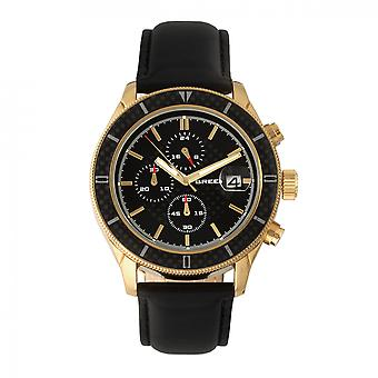 Breed Maverick Chronograph Leather-Band Watch w/Date - Gold/Black