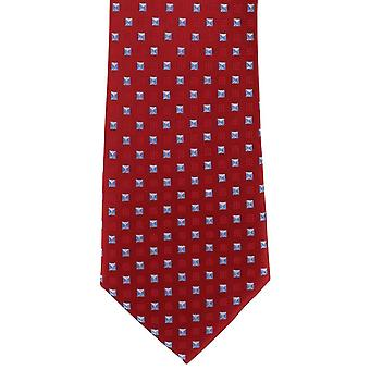 Michelsons of London Neat Diamond Polyester Tie - Red/Light Blue