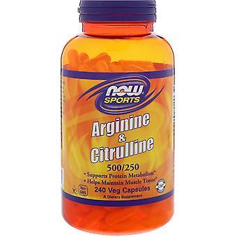 Arginin & citrullin-500/250 mg (240 vegetariska kapslar)-nu Foods