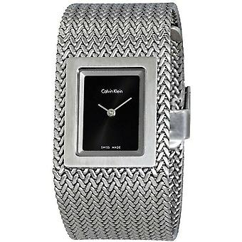 Calvin Klein K5L13131 Mesh Black Dial Bangle Ladies Watch