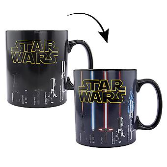 Star Wars Thermotasse Weapons XL Lichtschwerter-Tasse schwarz, bedruckt, 100 % Keramik, Fassungvermögen 470 ml., im Geschenkkarton.