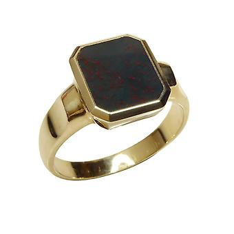 Yellow gold heliotrope seal ring
