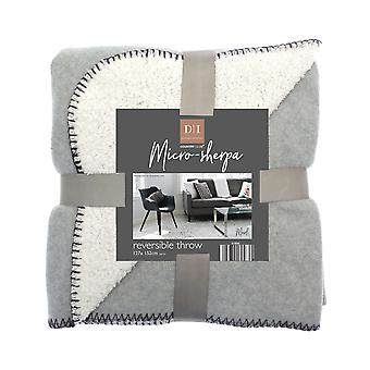 Country Club Micro-Sherpa Reversible Throw, Light Grey