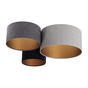 Lampe de plafond PlaMian Velours gris, gris foncé, noir & or x 91cm 10959