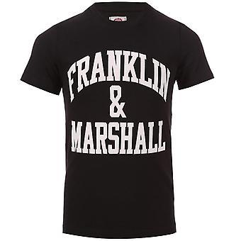 Boy's Franklin And Marshall Junior F & M Logo T-Shirt in Black