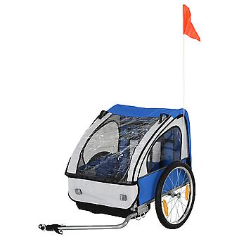 HOMCOM 2 Seat Kids Child Bicycle Trailer Steel Frame Safety Harness Seat Carrier Blue White 126 x 78 x 79 cm