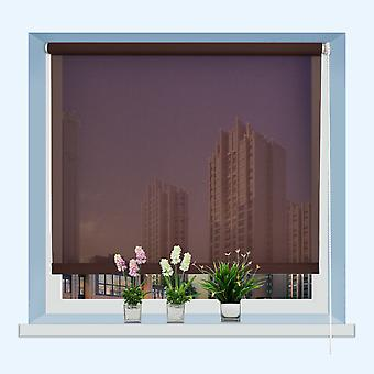 Roller Blinds Full Shut or Semi Transparent Easy Fit Trimable Home Office Window Square Eyelet Fabric Blind 150CM Brown
