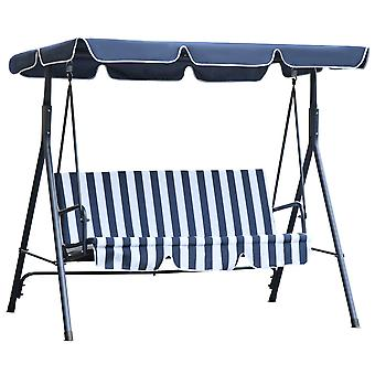 Outsunny 3 Seater Canopy Swing Chair Heavy Duty Outdoor Garden Bench with Sun Cover Metal Frame - Blue & White