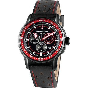MOMO Design Pilot Watch MD2164BK-42 - Leather Gents Quartz Chronograph
