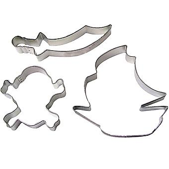 3 Pirate Themed Cookie Cutters for Parties - Pirate Ship, Cutlass & Skull