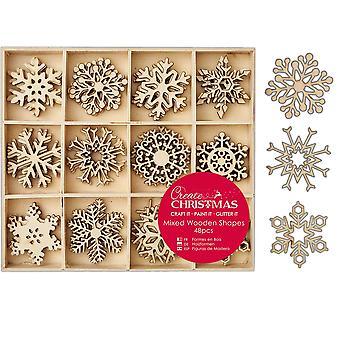 48 Surtido de 3,8cm de madera copo de nieve forma adornos para Papercrafts