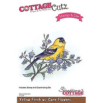 Scrapping Cottage Cutting Dies - Yellow Finch with Cone Flowers