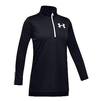 Under Armour Tech 1/2 Zip Kids Girls Long Sleeve Fitness Training Shirt Black