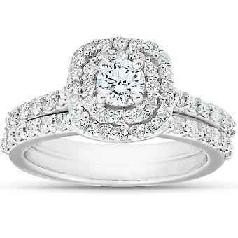Certificado 1.50Ct Diamond Cushion Halo Engagement Wedding Ring Set White Gold 14k