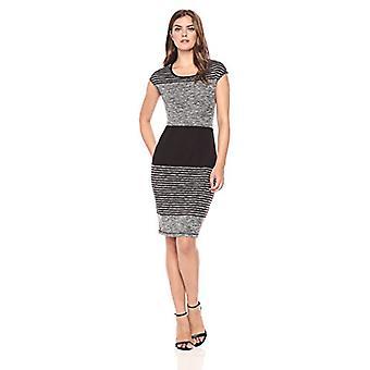 Brand - Lark & Ro Women's Cap Sleeve Blocked Stripe Sheath Dress, Blac...