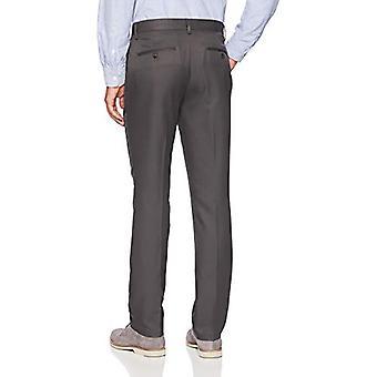 Essentials Men's Pantaloni Slim-Fit Flat-Front Dress, Grigio scuro, 28W x 32L