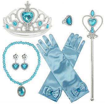 Děti Elsa Frozen 6ks Cosplay Příslušenství Set Rukavice Crown Magic Hůlka & Šperky