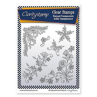 Claritystamp Tina's Blomstervirvler og Hjørner 1 Klart stempelsett