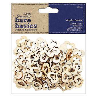 Papermania Bare Basics Wooden Heart Confetti (100pcs) (PMA 174531)