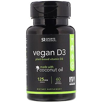 Sportonderzoek, Vegan D3, 125 mcg (5.000 IE), 60 Veggie Softgels