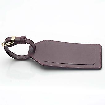 Burgundy Leather Luggage Tag in Oxford