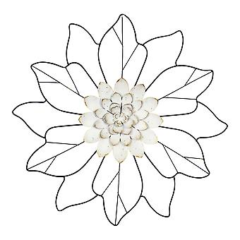White Flower Wall Decor with Matte Black Leaves