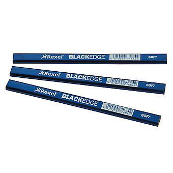 Blackedge Carpenter's Pencils - Blue / Soft Card of 12 BLAB