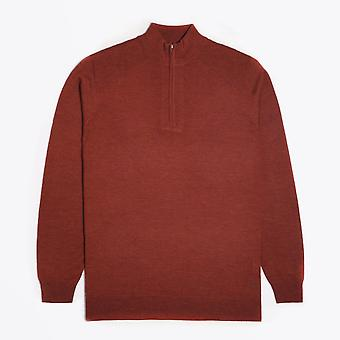 Thomas Maine  - Merino Half Zip Sweater - Burnt Orange
