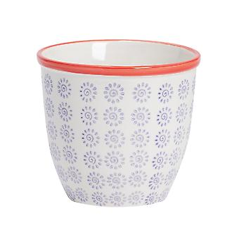 Nicola Spring Hand-Printed Plant Pot - Japanese Style Porcelain Indoor Outdoor Flower Pot - Purple - 14 x 12.5cm
