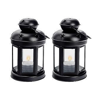 Nicola Spring Candle Lanterns Tealight Holders Metal Hanging Indoor Outdoor - 16cm - Black - Set 2
