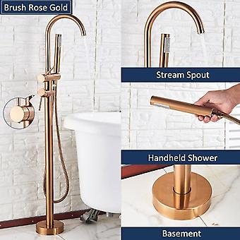Bathtub Floor Stand Faucet Mixer - 360 Rotation Spout With Abs Handshower Bath