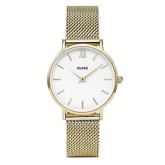 Cluse Cw0101203007 Minuit White & Gold Mesh Ladies Watch