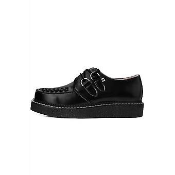 TUK Shoes 1970 Creeper Black Leather With Contrast Stitching