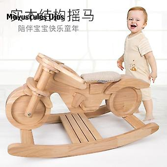 Children's Solid Wood Rocking Horse For Baby Boys And Girls Gift Educational Toys