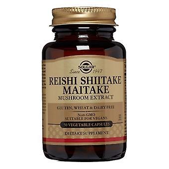 Solgar Reishi Shiitake Maitake Grzyb Ekstrakt kapsułki roślinne, 50 V Czapki