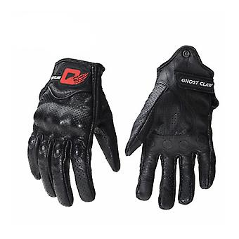 GHOST RACING Touch Screen Leather Gloves Motorcycle Bicycle Protective Gloves
