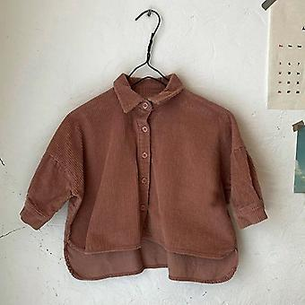 Boys And -fashion Front Short, Long Back Button Corduroy Shirt