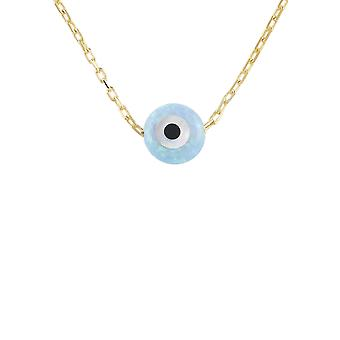 Latelita Small Mini Evil Eye Pendant Necklace Opalite Blue 925 Sterling Silver Gold