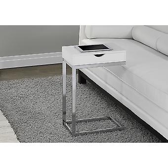 """24.5"""" White Finish and Chromed Metal Accent Table"""