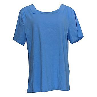 Denim & Co. Women's Top Essentials Square-Neck Short Sleeve Blue A365291