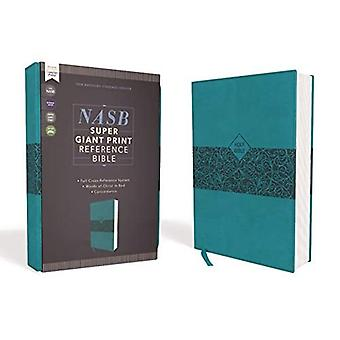NASB, Super Giant Print Reference Bible, Leathersoft, Teal, Red Letter Edition, 1995 Text, Comfort Print