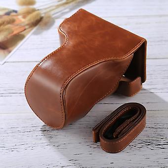 Full Body Camera PU Leather Case Bag met riem voor Canon EOS M6 (18-150mm Lens) (Bruin)