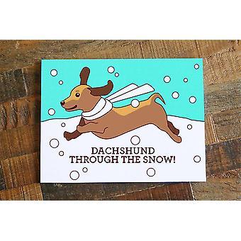 תחש דרך כרטיס חג המולד המושלג