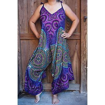 Paarse Mandala Boho Hippie Jumpsuit Rompers