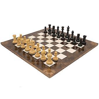Ylellinen Monarch Ebony ja pähkinä shakkinappulat