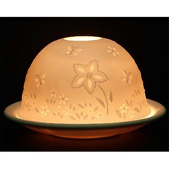 Nordic Lights Flowers Tealight Candle Shade And Tray